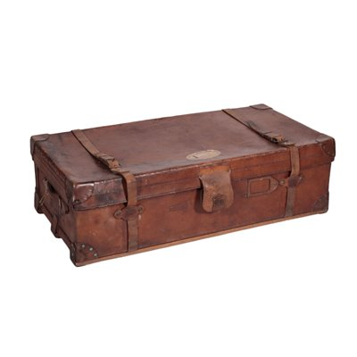 Vintage English Leather Trunk 3 England 1920s