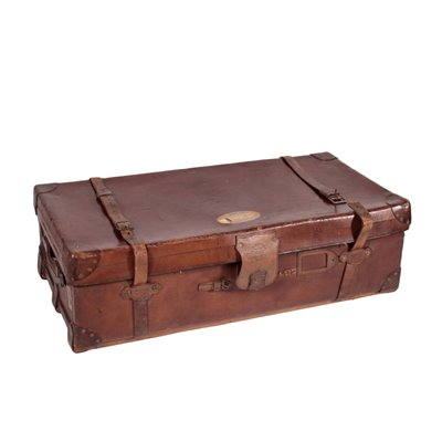 Vintage English Leather Trunk 4 England 1920s