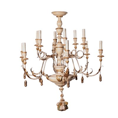 Revival Chandelier Shear Plate Metal Italy 20th Century
