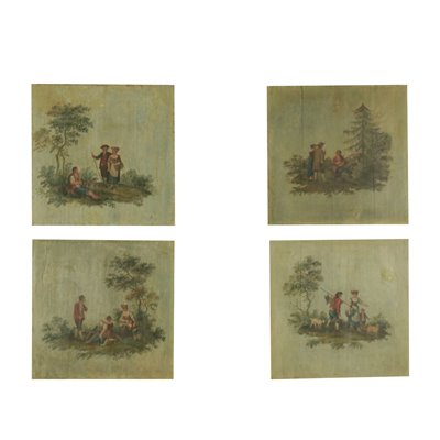 Grouo Of Four Painted Panels Late '800