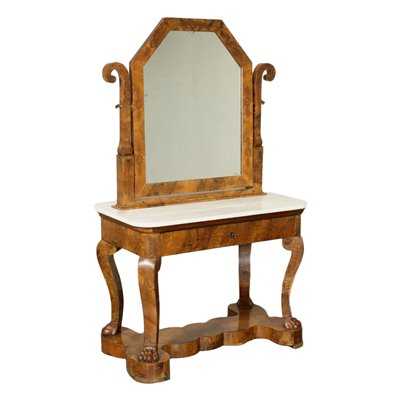 Charles X Console With Mirror Marple Marble Italy 19th Century