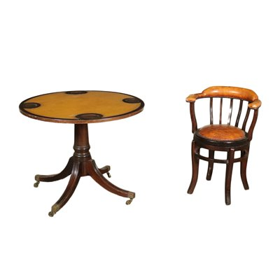 Game Table With Swivel Chair Mahogany Padded England 20th Century