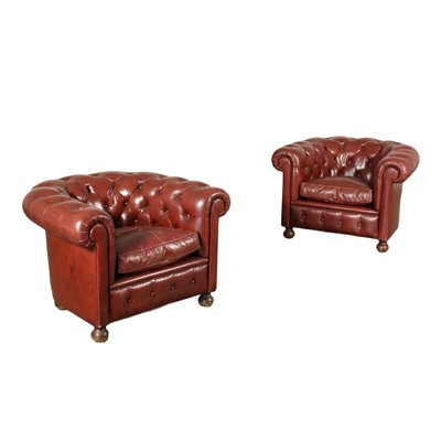 Pair Of Chesterfield Revival Armchairs Leather England 20th Century