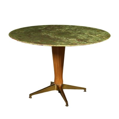 Table Stained Beech Brass Onyx Italy 1950s