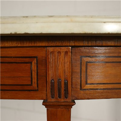 Neo-Classical Crescent Console Chestnut Mahogany Marble Italy 18th Cen