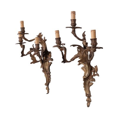 Pair of Revival Wall Lights Bronze Italy 20th Century