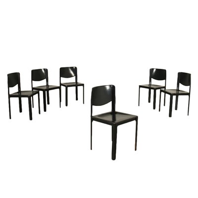 Group Of Six Tito Agnoli Chairs Metal Leather 1980s