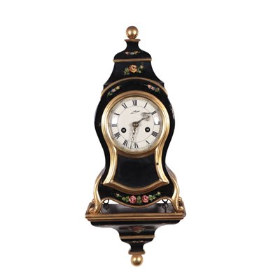 Schmidt Clock With Shelf Lacquerd Wood Germany Early 20th Century