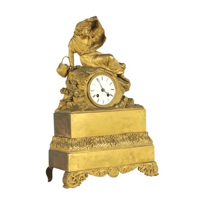 Gilded Bronze Table Clock France 19th Century