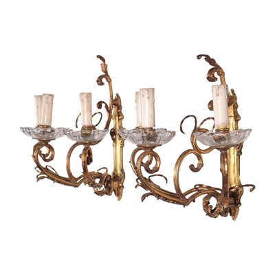 Pair Of Wall Ligths With 3 Lights Bronze Glass Italy 20th Century