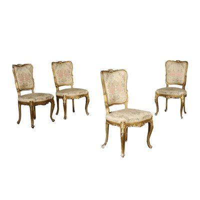 Group Of 4 Barocchetto Revival Chairs Italy 20th Century