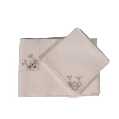 Flax Tablecloth With 6 Napkins Italy 20th Century