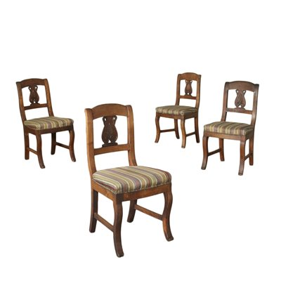 Group of 4 Restoration Chairs Walnut Italy 19th Cenutry