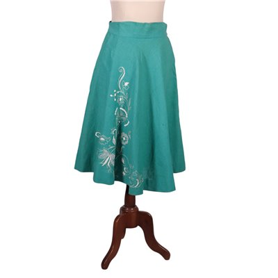 Vintage Green Skirt WIth Embroideries Misto Lino Italy 1970s-1980s