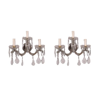 Pair of Maria Theresa Wall Lights Glass Italy 20th Century