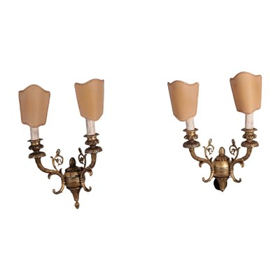 Pair of Revival Wall Lights Gilded Bronze Italy 20th Century