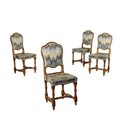 Group of 4 Spool Chairs Walnut Padded Italy 20th Century