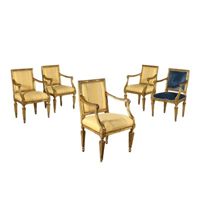 Group Of Five Armchairs Neoclassical Naples Italy Second Half '700