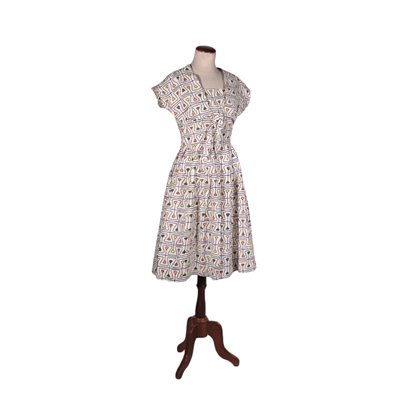 Vintage Dress with Geometrical Print Cotton Italy 1960s