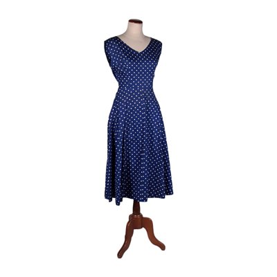 Vintage Blue Dress With Polka Dots Cotton Italy