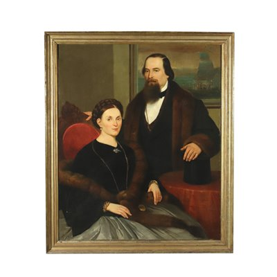 Portrait Of A Couple Oil On Canvas 20th Century