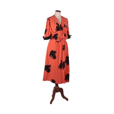 Vintage Coral Dress Silk Italy 1970s-1980s