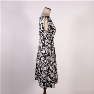 Vintage Black and White Dress Cotton Italy 1970s