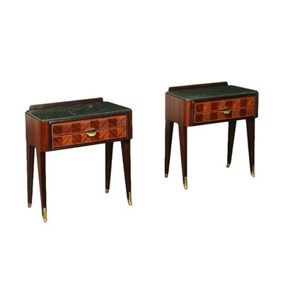 Bedside Tables Veneered Wood Marble Brass Italy 1950s 1960s