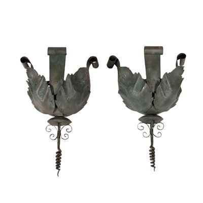 Pair of Wrought Iron Wall Vase Holders Italy 20th Century