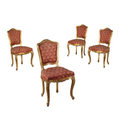 Group of 4 Revival Chairs Padded Italy 20th Century