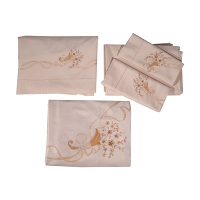 Double Bed Set with 2 Pillowcases SIlk Italy 20th Century