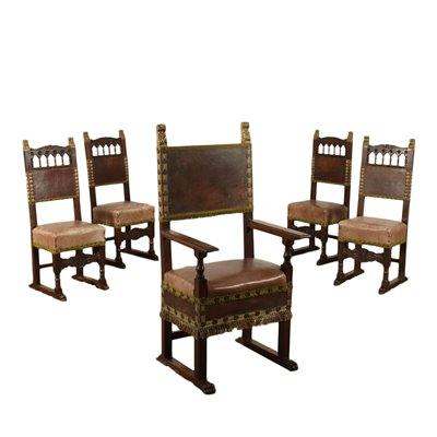 Neo-renaissance Chairs and Armchair Walnut Italy 19th Century