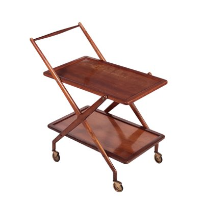 Service Trolley Stained Beech Veneer Italy 1950s