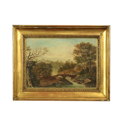 Hilly Landscape Oil on Canvas 19th Century
