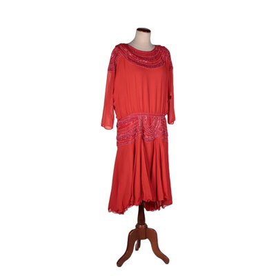 Vintage Red Chiffon Dress WIth Beads Italy 1980s