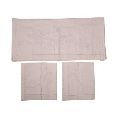 Set of Pillowcase Cover 1 Double and 2 Single Flax Italy 20th Century