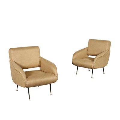 Pair Of Armchairs Foam Leatherette Italy 1950s 1960s