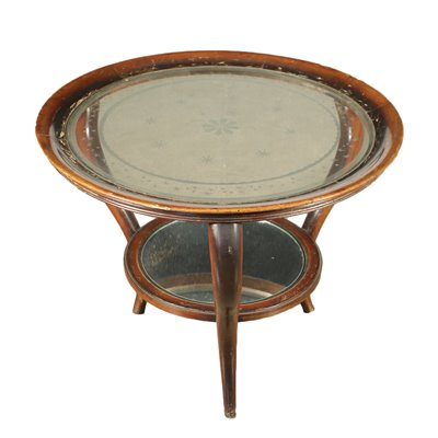Coffee Table Stained Beech Mirrored Glass Italy 1940s 1950s