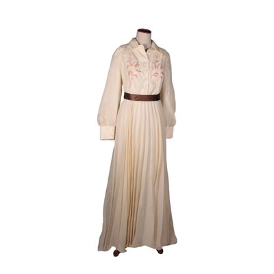 Vintage Embroidered Long Dress Italy 1970s