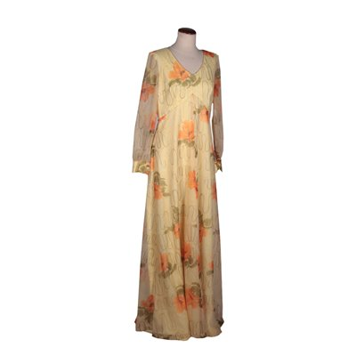 Vintage Long Dress With Poppies Organza Italy 1970s-1980s