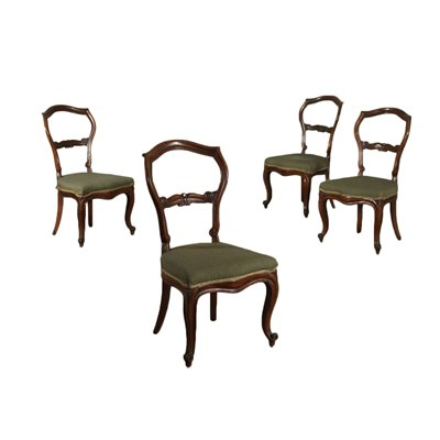 Group of 4 Louis Philippe Chairs Walnut Italy 19th Century