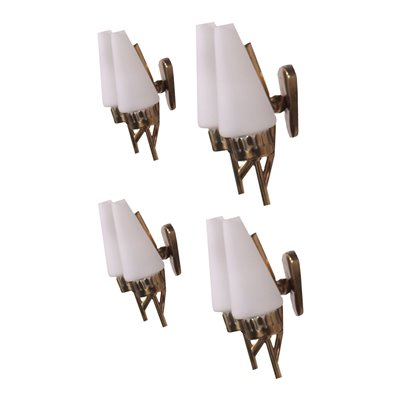 Group Of Four Sconces Brass Opaline Glass Italy 1950s 1960s