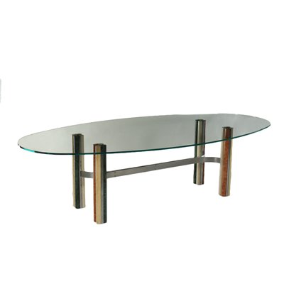 Table Marble Chromed Metal Glass Italy 1970s 1980s