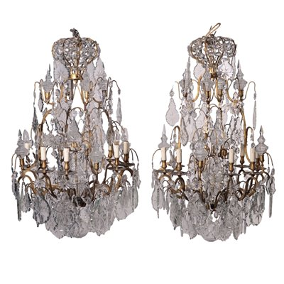 Pair Of Chandeliers Glass Bronze Italy Late 19th Century