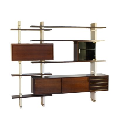 Bookcase Amma Lacquered Wood Brass Turin Italy 1960s