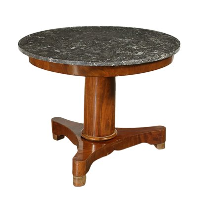 French Restorattion Table Mahogany Feather Banded Veneer 19th Century