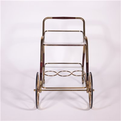 Service Trolley Stained Wood Brass Glass Italy 1950s