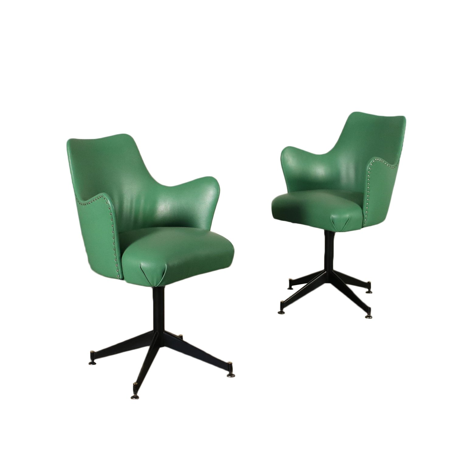 Pair Of Chairs Foam Metal Leatherette Italy 1950s 1960s