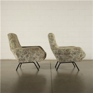 Pair Of Armchairs Foam Fabric Metal Italy 1960s