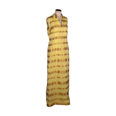 Vintage Long Yellow and Gold Dress 1970s